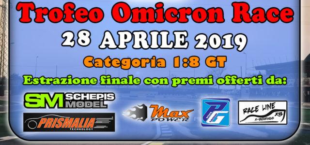 """L'Omicron Raceorganizza il """"Trofeo Omicron Race"""", trofeo che si svolgerà il 28 Aprile 2019a Locorotondo presso il Miniautodromo """"Lino Calella"""".Il trofeo è riservato alla categoria 1:8 GT. Durante l'iscrizione è […]"""