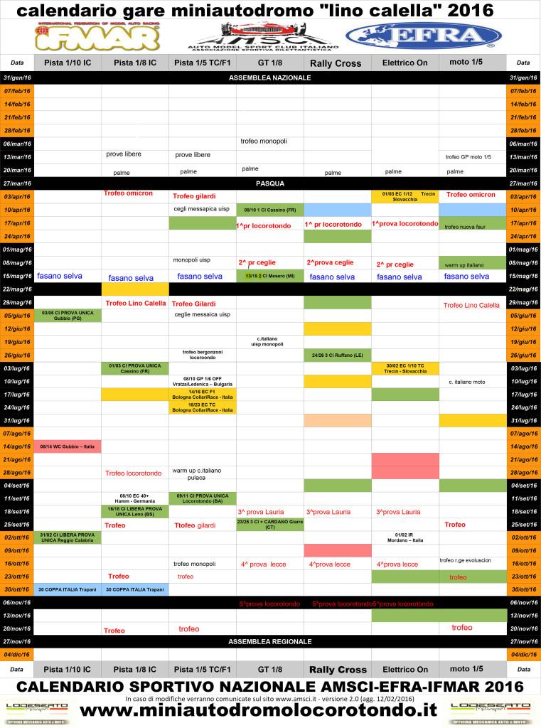 Calendario Gare 2016